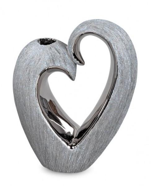 Formano Vase Herz grau-silber 16cm aus Keramik mit matter, gebürsteter Oberfläche