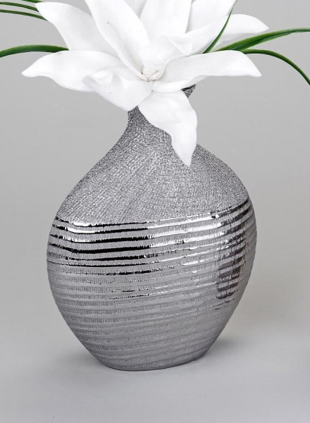 Vase 18x25cm Silberstreifen