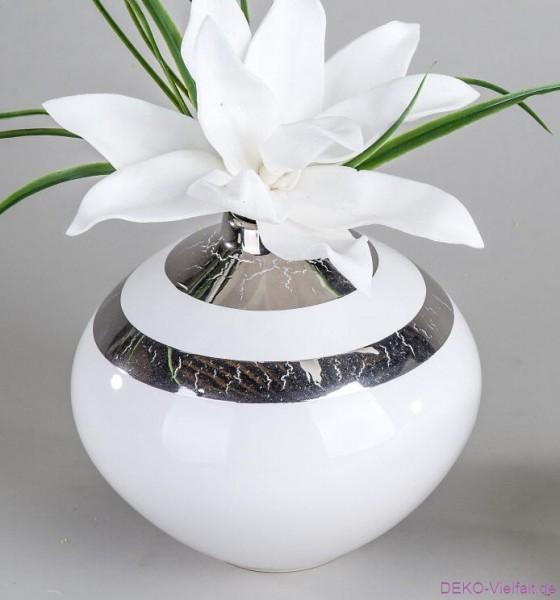 Formano Vase rund Prato-weiß 18 cm