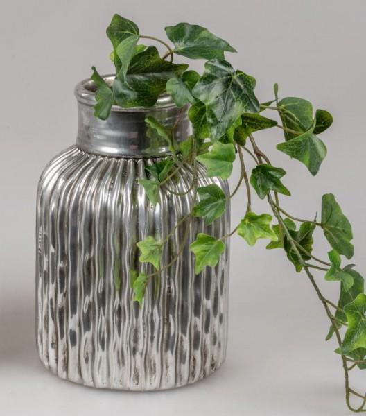 Formano Vase 25cm aus Keramik mit antik-silberner Oberfläche in Vintage