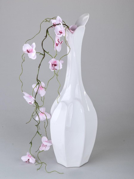 Vase 18x54cm Bianco aus Steingut gefertigt und mit weiss-glasierter Oberfläche veredelt, zeitlos sch