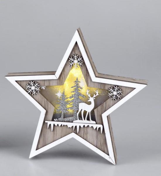Formano Holzdeko Stern mit Licht sort. 24cm inklusive Batteriebox und Timer