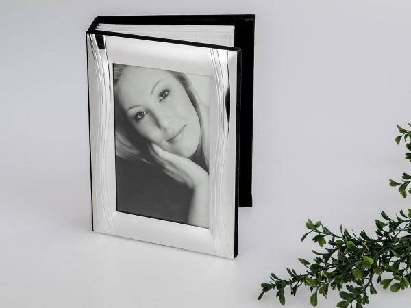 Fotoalbum 10x15cm Welle silber mit Metall-Rahmen in glänzender und matter Oberfläche, für 100 Fotos
