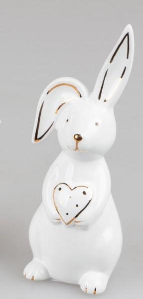 Formano Osterhase mit Herz weiß - gold