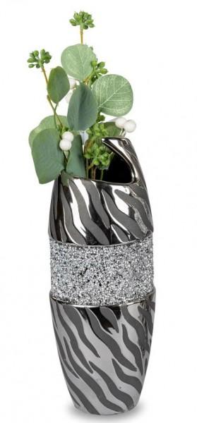 Formano Vase schwarz - silber, 11x30cm, aus Keramik