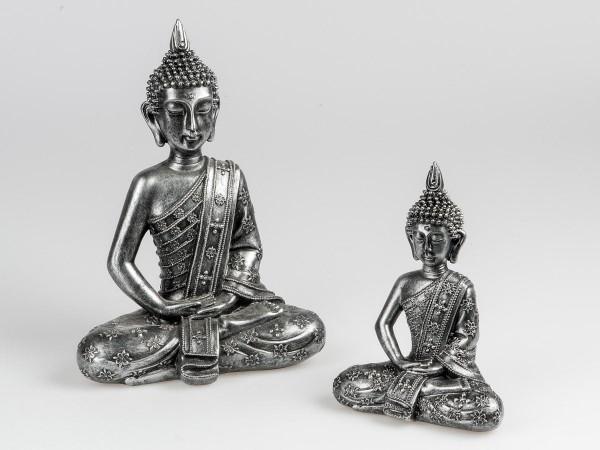 Deko-Figur Buddha antikfarben 33cm aus Kunststein aufwendig von Hand gestaltet und mit kunstvollem R