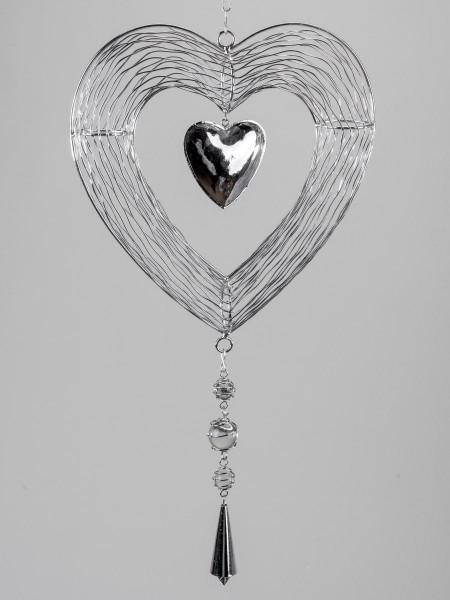 Formano Hänger Herz 25cm Silber Trend kunsthandwerklicher Artikel aus glänzendem, silbernem Metall m