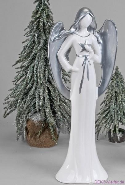 Formano Engel m. Buch weiß-silber 55cm