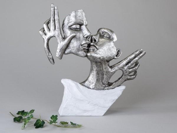 Ausgefallenes Deko-Objekt weiss-silber 36cm aus Kunststein von Künstlerhand gestaltet