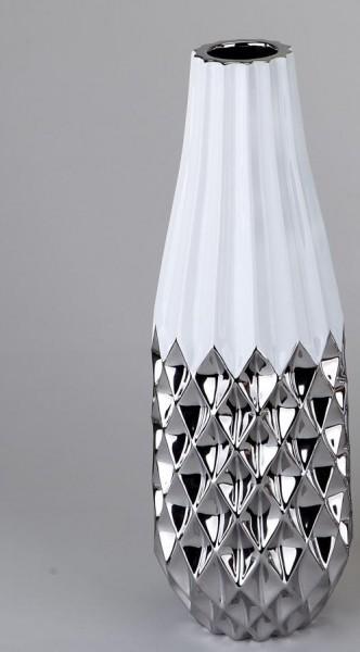 Vase 40cm weiss-silber aus glasiertem Steingut gefertigt. Das silberne Relief unterstreicht das eleg