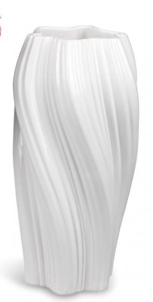 Formano Vase 30cm Spirale - weiss aus glasierter Keramik