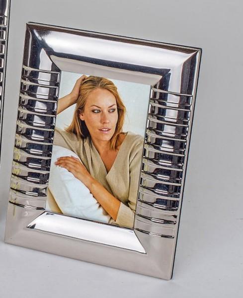 Formano moderne Fotorahmen 10x15cm Streifen silber aus glänzendem Edelstahl