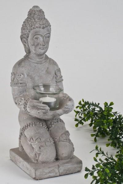 Formano Buddha knieend mit Teelicht 15 x 35 cm