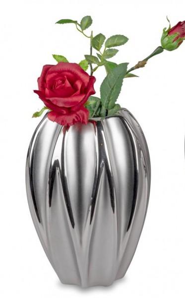 Formano Vase Mattsilber 14x20cm aus Keramik mit matter + glänzender Glasur und Relief