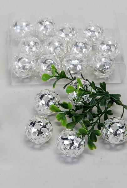 Set 12 Kugeln 3cm Bombay silber aus Metall mit Durchbruch; in Klarsichtbox verpackt.
