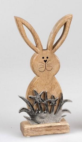 Formano Hase mit Gras, 26x12cm, aus massivem Mango-Holz