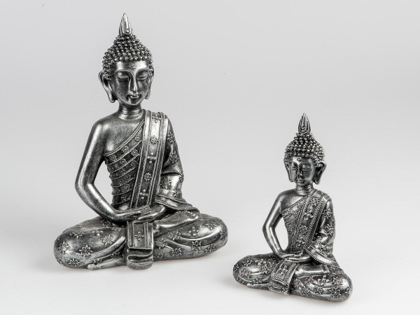 Deko-Figur Buddha antikfarben 22cm aus Kunststein aufwendig von Hand gestaltet und mit kunstvollem R