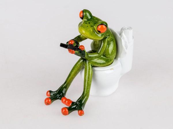 Formano Frosch auf Toilette mit Handy 13 cm