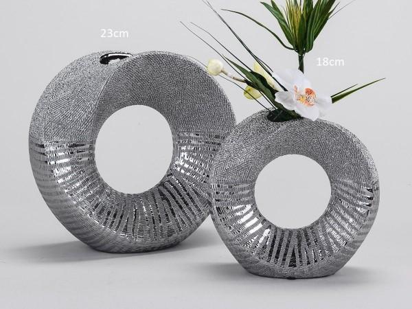 Vase rund 18cm Silberstreifen
