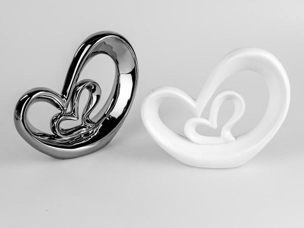 Deko-Herz 21cm weiss. aus glasiertem Porzellan von Hand gefertigt