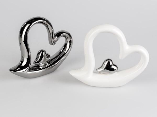 Deko-Herz 18cm weiss aus glasiertem Steingut mit kleinem Silber-Herz veredelt