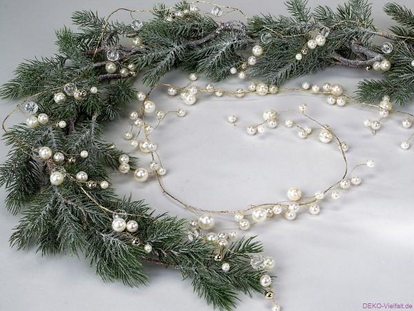 Formano Perlengirlande weiß-gold 125 cm