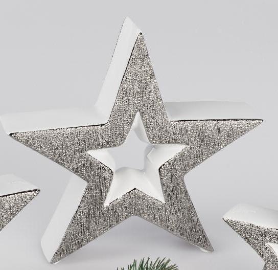 Weihnachtsdeko In Silber Und Weiß.Formano Deko Stern Mit Loch 15 Cm Weiss Silber