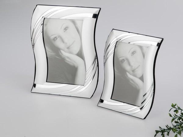 Fotorahmen 13x18cm Bogen silber edle Metall-Rahmen mit matter + glänzender Oberfläche