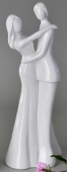 Paar 48cm weiss-glasiert