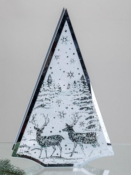 Windlicht Baum 30x45cm Winterwald kunsthandwerklicher Artikel aus Glas mit Spielgeldekor verziert.