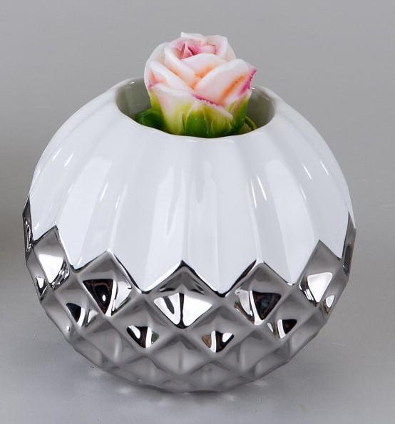 Deko-Kugel Teelichtleuchter rund 10cm weiss-silber handgefertigte Artikel aus glasiertem Steingut.