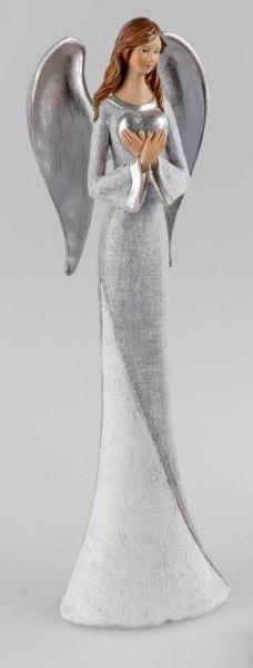 Engel 40cm Pastell-grau mit Herz