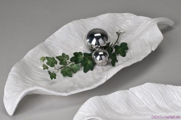 Formano Deko-Schale Blatt weiß 48 cm