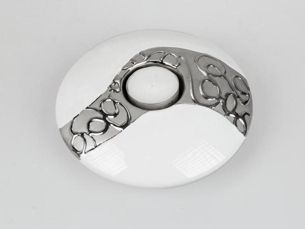 Formano Teelichtleuchter rund 15cm weiss-silber