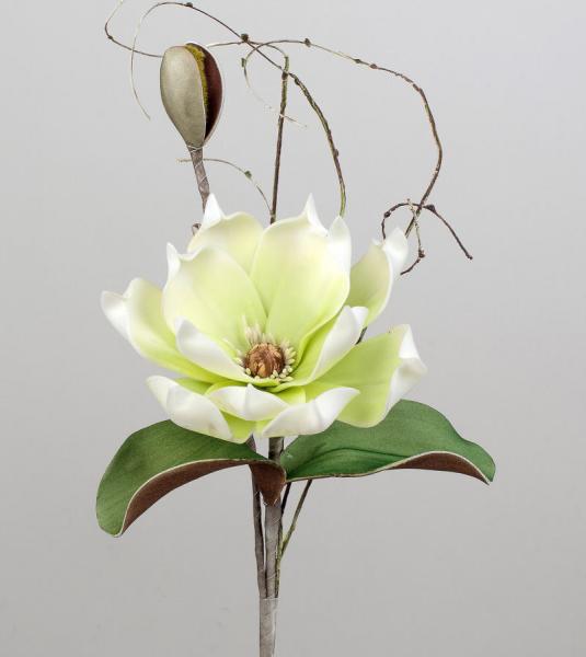 Formano Deko-Zweig aus Schaumstoff 42cm Magnolie grün-weiss