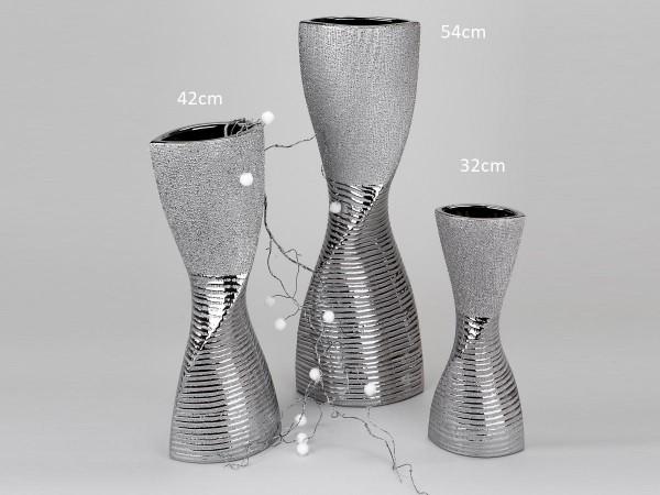 Vase 32cm Silberstreifen