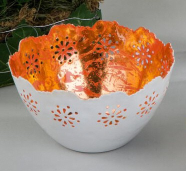 Formano Windlicht Duo-Sommer orange 13cm