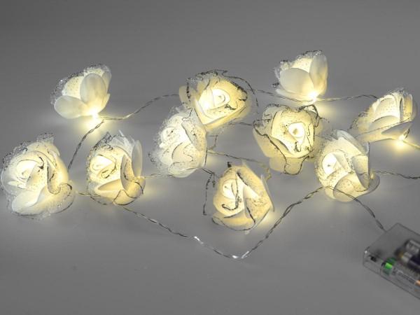 Rosengirlande mit 10 LED-Lichter warm-weiss leuchtend 140cm lang mit 10 Blüten mit Silberglitter ver