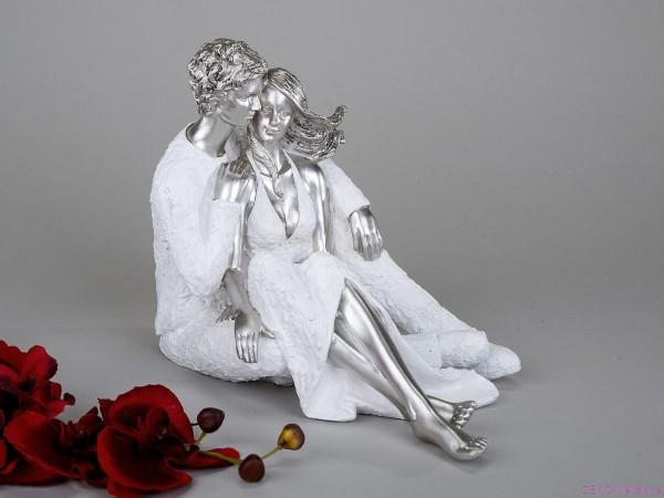 Formano Paar sitzend weiß-silber 27 cm