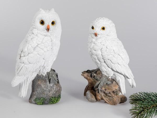 Eule 20cm Winterzeit aus Kunststein mit matter, geeister Oberfläche von Hand gefertigt.