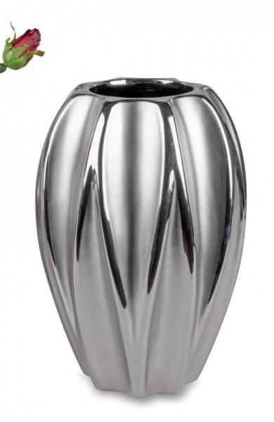 Formano Vase Mattsilber 17x25cm aus Keramik mit matter + glänzender Glasur und Relief