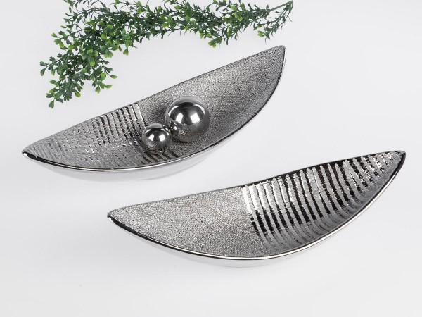 Deko-Schale oval 34cm Silberstreifen aus Steingut mit reliefierter Oberfläche matt + glänzend kombin