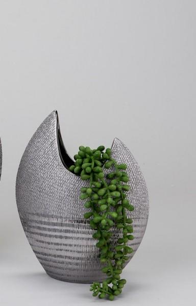 Vase flach 21cm Silberstreifen