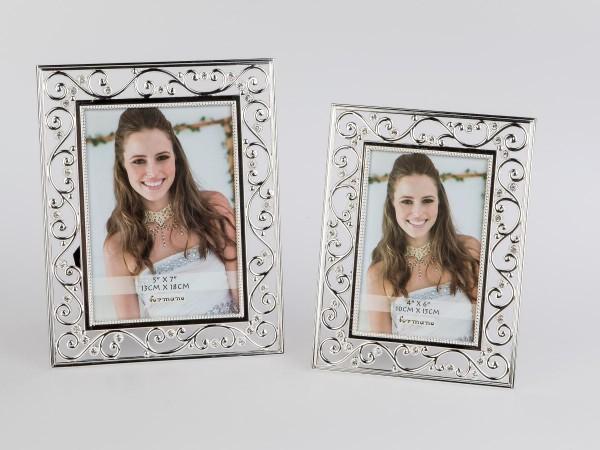 Fotorahmen 10x15cm Silber Ornament aus glänzendem, silbernem Metall mit Strass-Steinen veredelt