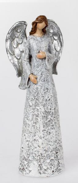 Formano Engel stehend sort. 37cm creme-silbern