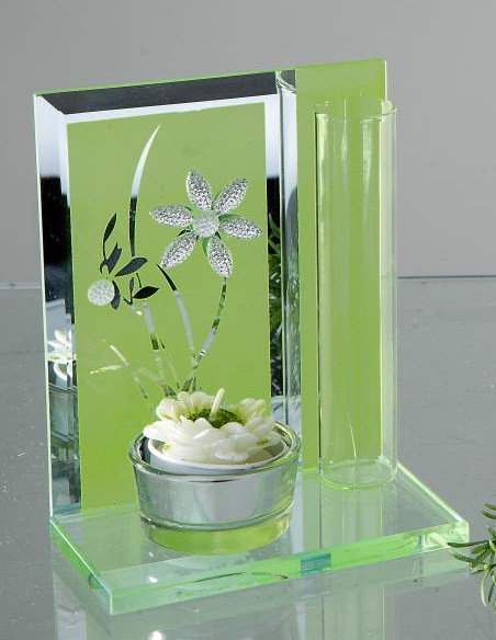Formano Teelicht m. Vase Blumen-grün 14 cm