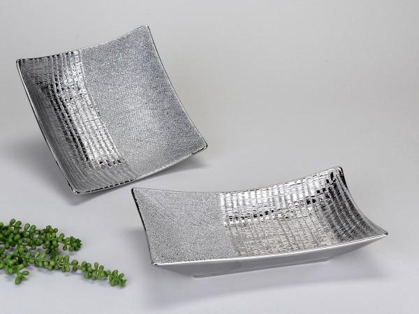 Deko-Teller 33x19 Silberstreifen