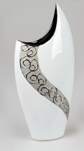 Formano Vase 36 cm weiss-silber